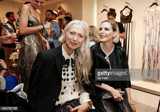 Christiane Arp Chief Editor Vogue Germany and german model Nadja Auermann attends the ESCADA Flagship Store Opening on June 23 2016 in Duesseldorf...
