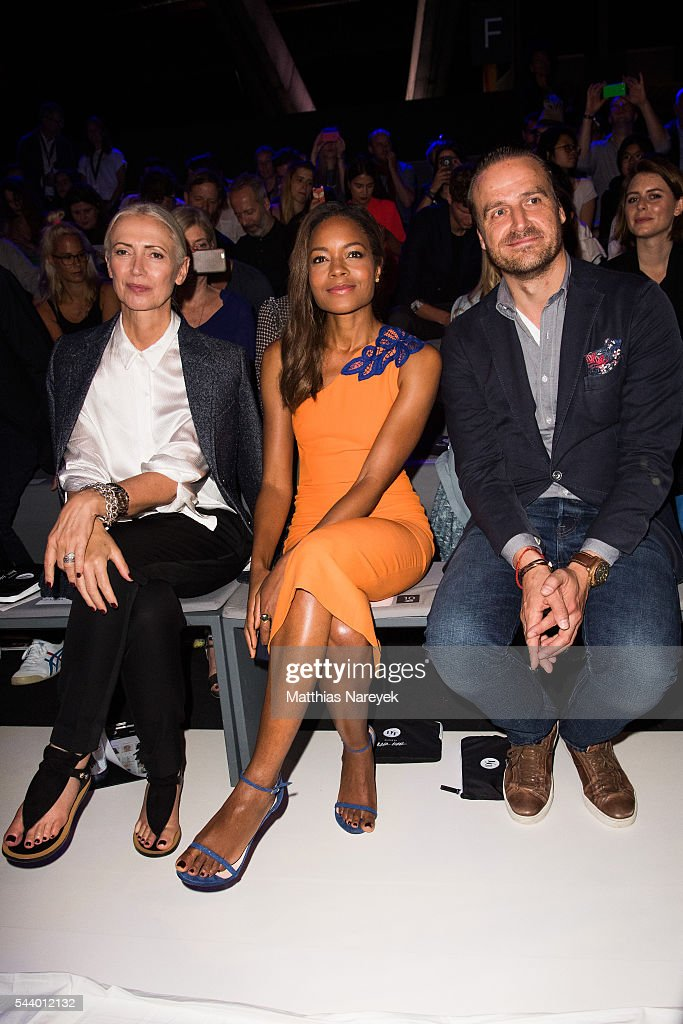 Christiane Arp, Naomi Harris and John Cloppenburg attend the 'Designer for Tomorrow' show during the Mercedes-Benz Fashion Week Berlin Spring/Summer 2017 at Erika Hess Eisstadion on June 30, 2016 in Berlin, Germany.