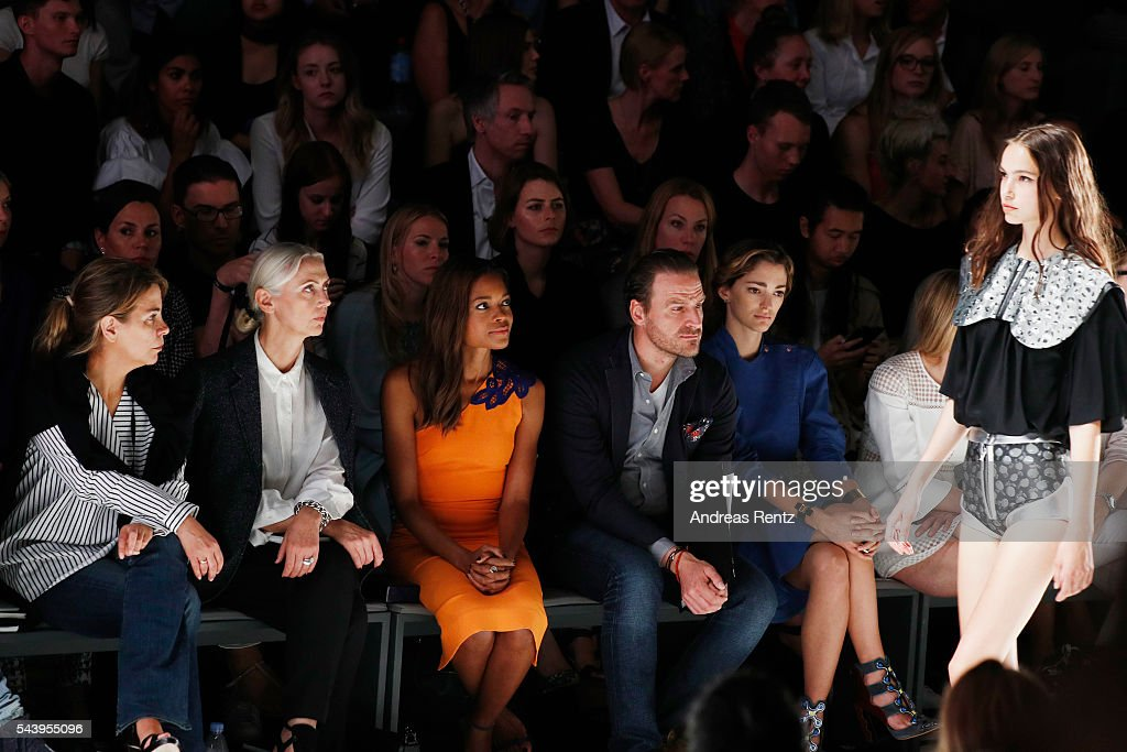 <a gi-track='captionPersonalityLinkClicked' href=/galleries/search?phrase=Christiane+Arp&family=editorial&specificpeople=2942750 ng-click='$event.stopPropagation()'>Christiane Arp</a>, Naomi Harris and John Cloppenburg attend the runway at the fashion talent award 'Designer for Tomorrow' by Peek & Cloppenburg and Fashion ID hosted by Alber Elbaz during the Mercedes-Benz Fashion Week Berlin Spring/Summer 2017 at Erika Hess Eisstadion on June 30, 2016 in Berlin, Germany.