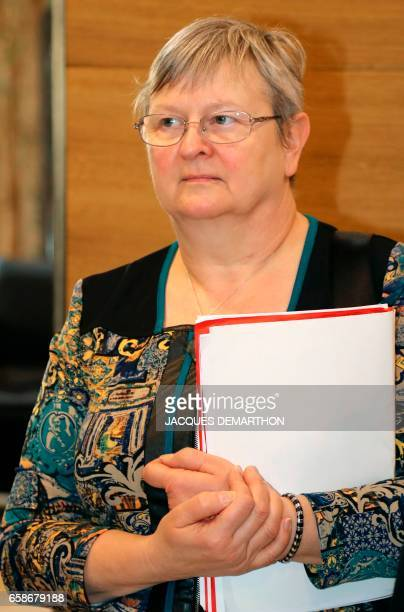 Christiane Heintz general secretary of French workers' union Force Ouvriere in the BasRhin arrives at the MEDEF headquarters the French largest union...