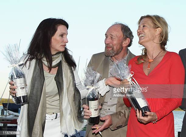 Christiane Knaup actor Michael Mendl and actress Suzanne von Borsody attend the anniversary party at the ARosa Golfclub Scharmuetzelsee on April 30...