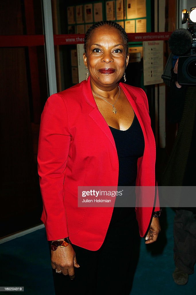 <a gi-track='captionPersonalityLinkClicked' href=/galleries/search?phrase=Christiane+Taubira&family=editorial&specificpeople=3798541 ng-click='$event.stopPropagation()'>Christiane Taubira</a> attends the 'Mariage Pour Tous' (wedding for all) Party event at Theatre du Rond-Point on January 27, 2013 in Paris, France.