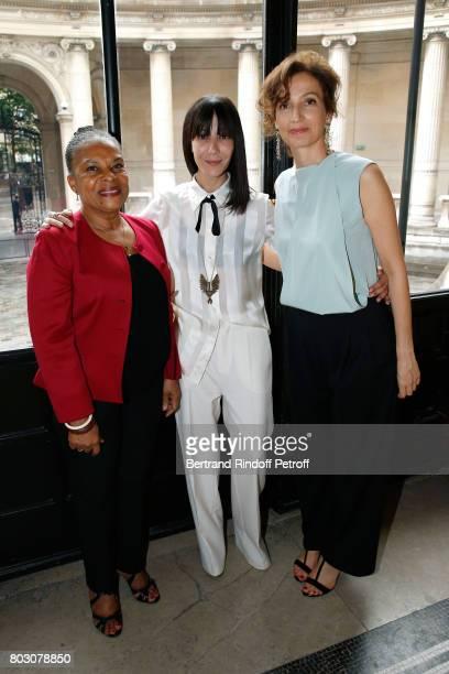 Christiane Taubira Bouchra Jarrar and Audrey Azoulay attend Artistic Director of Lanvin Bouchra Jarrar is Decorated 'Officier de l'Ordre des Arts et...