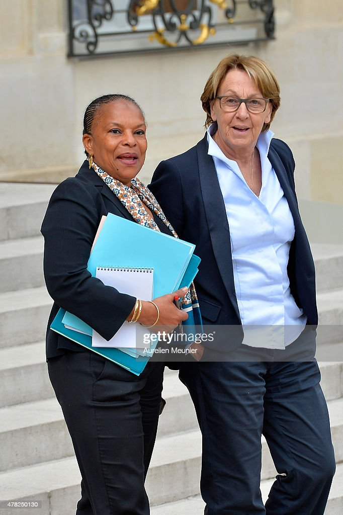 <a gi-track='captionPersonalityLinkClicked' href=/galleries/search?phrase=Christiane+Taubira&family=editorial&specificpeople=3798541 ng-click='$event.stopPropagation()'>Christiane Taubira</a>, French Minister of Justice and <a gi-track='captionPersonalityLinkClicked' href=/galleries/search?phrase=Marylise+Lebranchu&family=editorial&specificpeople=794442 ng-click='$event.stopPropagation()'>Marylise Lebranchu</a>, French Minister of State Reform, Decentralization and Public Service leave the Elysee Palace after the weekly cabinet meeting on June 24, 2015 in Paris, France.