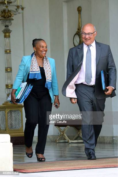 Christiane Taubira french Minister of Justice and Michel Sapin french Minister of Budget attend the 'Conseil des Ministres' the weekly Cabinet...