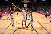 Christiano Felicio of the Chicago Bulls and Denzel Valentine of the Bulls reach for the rebound against the Minnesota Timberwolves during the 2016...
