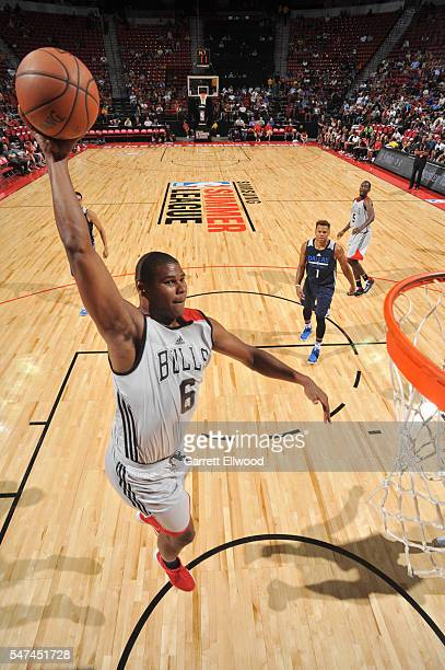 Christiano Felicio of the Chicago Bulls goes up for a dunk against the Dallas Mavericks during the 2016 NBA Las Vegas Summer League game on July 14...