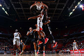 Christiano Felicio of the Chicago Bulls goes up for a dunk against the Minnesota Timberwolves during the 2016 NBA Las Vegas Summer League game on...