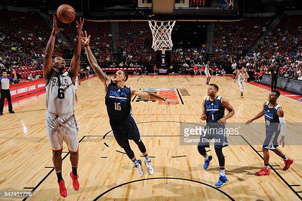 Christiano Felicio of the Chicago Bulls goes up for a rebound against the Dallas Mavericks during the 2016 NBA Las Vegas Summer League game on July...