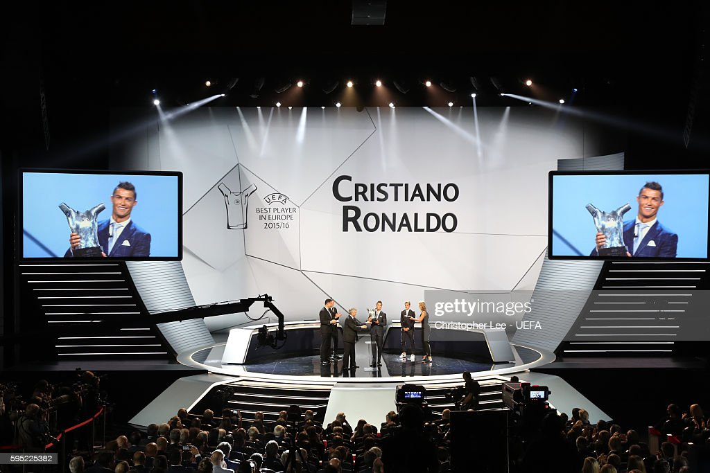 Christiano Ronaldo is announced as the winner of the UEFA Best Player in Europe Award during the ECF Season Kick Off 2016/17 on August 25 2016 in...
