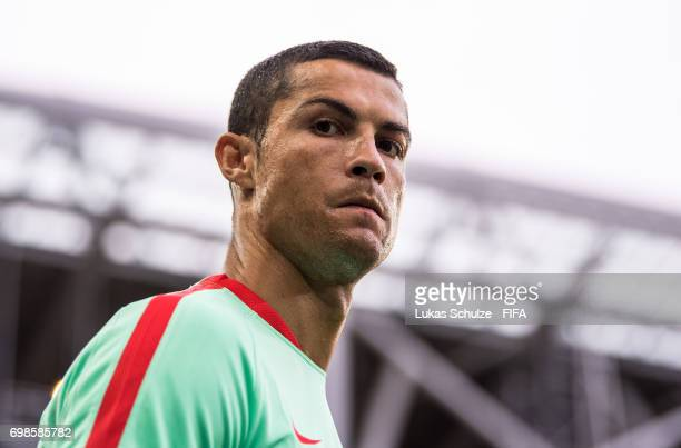 Christiano Ronaldo of Portugal arrives for a training session at Spartak Stadium during the FIFA Confederations Cup Russia 2017 on June 20 2017 in...