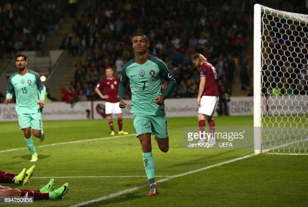 Christiano Ronaldo of Portugal celebrates his second goal during the FIFA 2018 World Cup Qualifier between Latvia and Portugal at Skonto Stadium on...