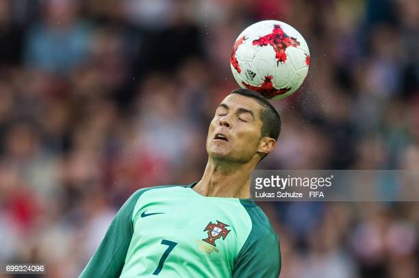 Christiano Ronaldo of Portugal heads the ball during the FIFA Confederations Cup Russia 2017 Group A match between Russia and Portugal at Spartak...