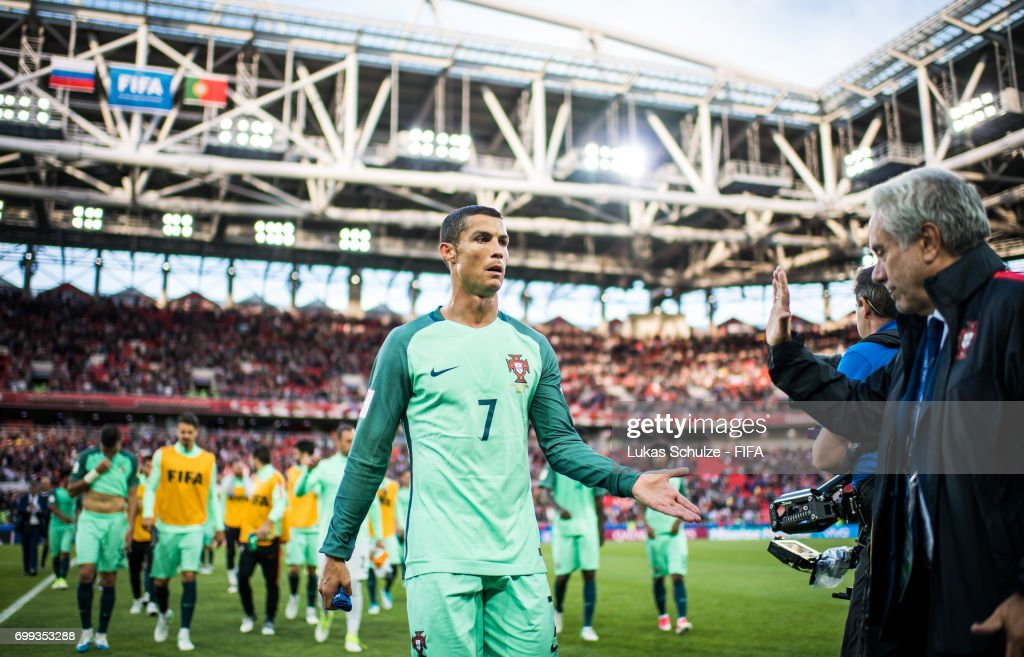 Christiano Ronaldo of Portugal leaves the pitch after winning the FIFA Confederations Cup Russia 2017 Group A match between Russia and Portugal at Spartak Stadium on June 21, 2017 in Moscow, Russia.