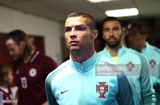 Christiano Ronaldo of Portugal lines up with team mates in the tunnel during the FIFA 2018 World Cup Qualifier between Latvia and Portugal at Skonto...