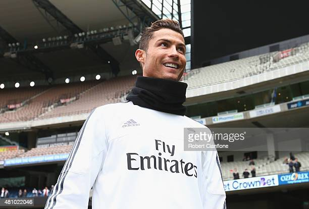 Christiano Ronaldo of Real Madrid looks on during a Real Madrid training session at Melbourne Cricket Ground on July 17 2015 in Melbourne Australia