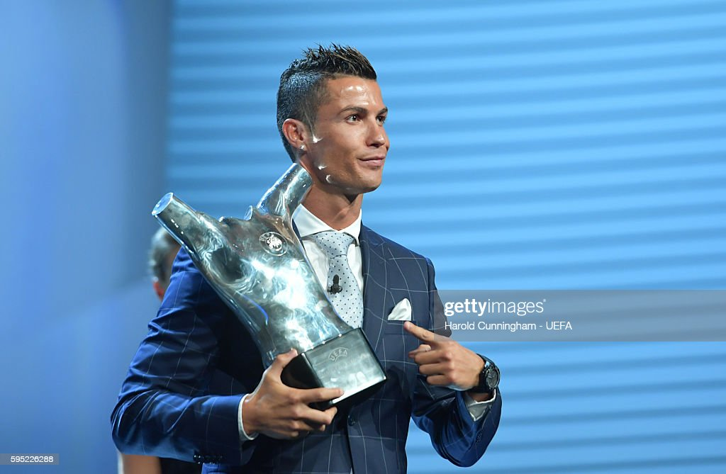 Christiano Ronaldo with his UEFA Best Player in Europe Award during the ECF Season Kick Off 2016/17 on August 25 2016 in Monaco Monaco
