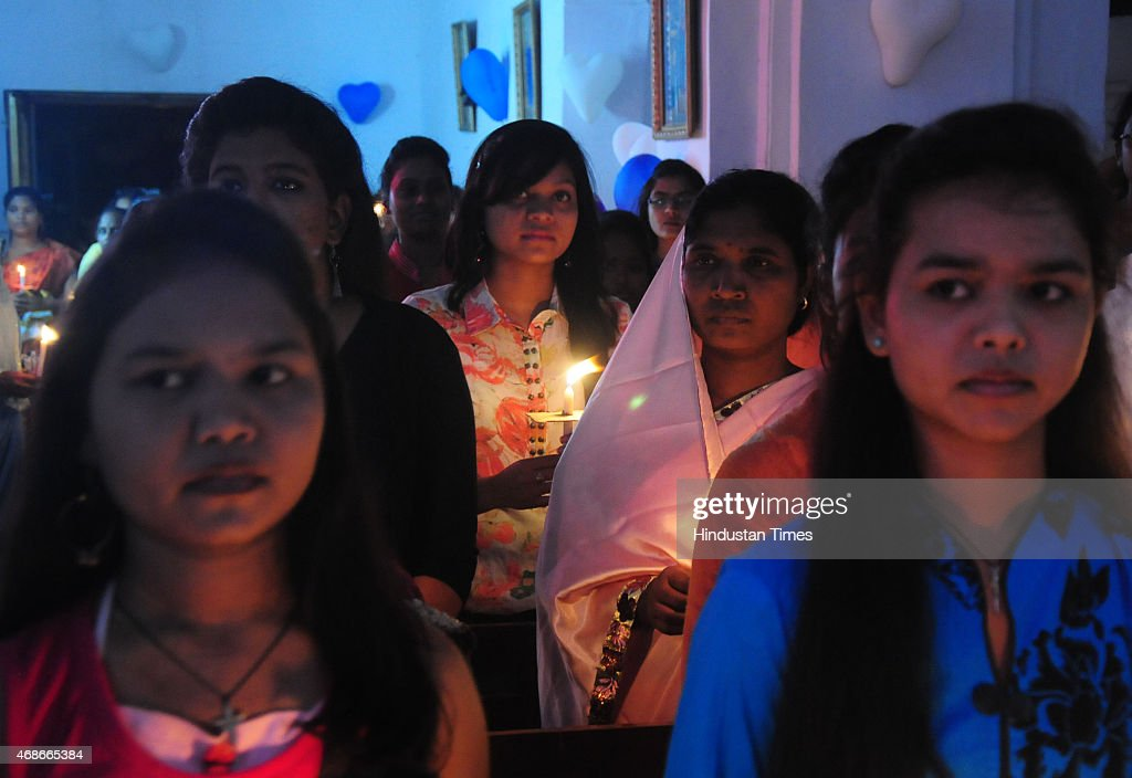 Christians taking part in Easter mass at St Francis Cathedral on April 5 2015 in Bhopal India Easter is a festival and holiday celebrating the...