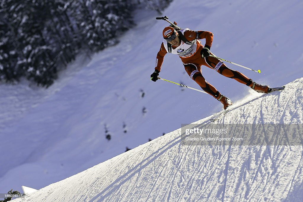 Christiansen Vetle Sjestad of Norway takes 1st place during the IBU Biathlon World Cup Men's Relay on December 9, 2012 in Hochfilzen, Austria.
