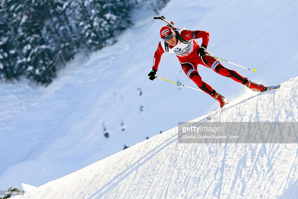 , Christiansen Vetle Sjestad takes 1st place during the IBU Biathlon World Cup Men's Relay on December 09, 2012 in Hochfilzen, Austria.