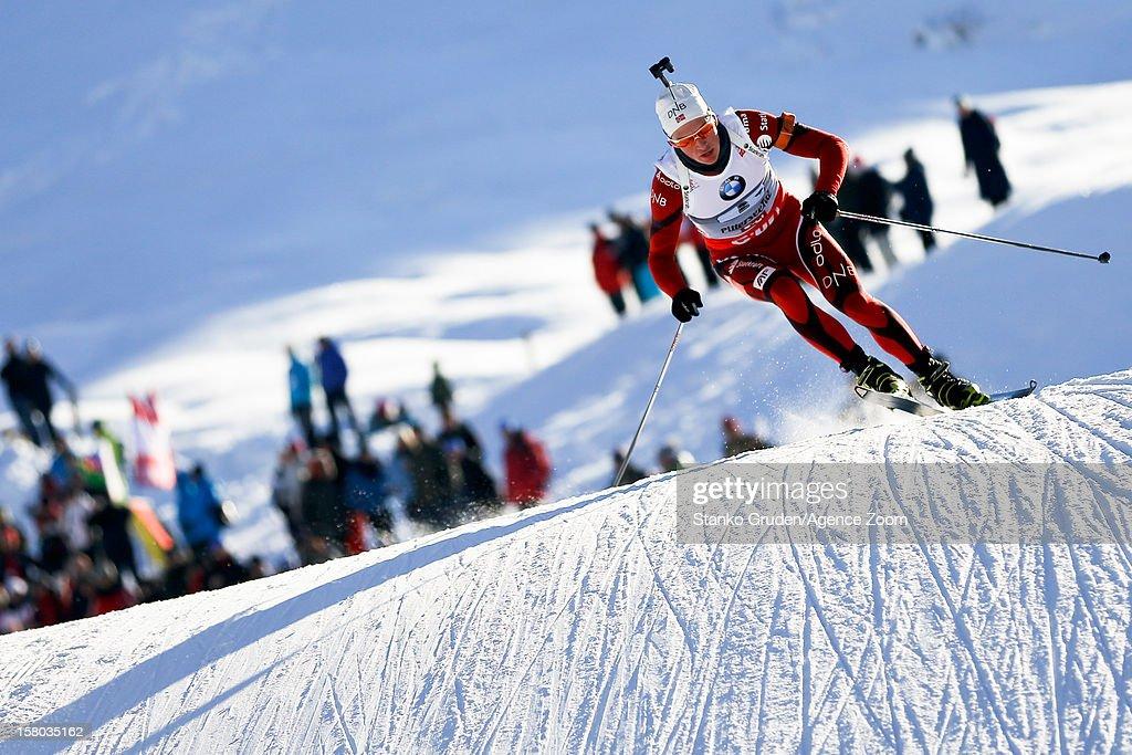 , Christiansen Vetle Sjestad takes 1st place during the IBU Biathlon World Cup Men's Relay on December 09, 2012 in Hochfilzen, Austria.