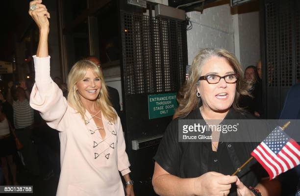 Christie Brinkley and Rosie O'Donnell walk in a parade of celebration to the opening night party for 'Michael Moore 'The Terms Of My Surrender' on...