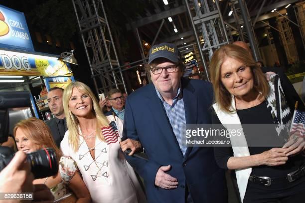 Christie Brinkley awardwinning filmmaker Michael Moore and Gloria Steinem celebrate his Broadway Opening Night in 'The Terms of My Surrender' at...