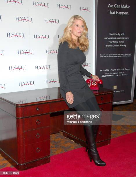 Christie Brinkley during Christie Brinkley Launches Her Hyatt WakeUp Call Campaign at Grand Hyatt East Midtown in New York City New York United States