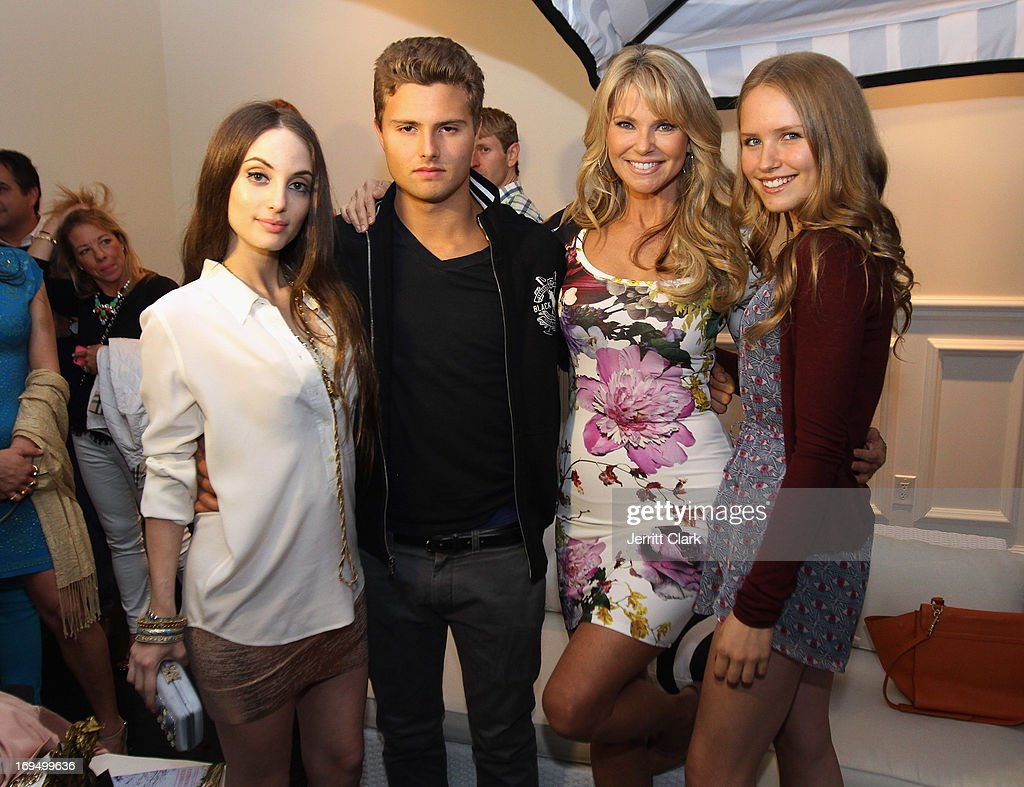 Christie Brinkley poses with daughters Alexa Ray Joel (L), Sailor Lee Brinkley Cook (R) and son Jack Paris Brinkley Cook at Christie Brinkley's 'Social Life Magazine' Cover Celebration on May 25, 2013 in Water Mill, New York.