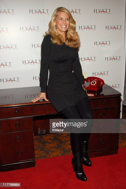 Christie Brinkley records a limitededition greeting to launch the new Hyatt wakeup call Benefiting the MakeAWish Foundation at the Grand Hyatt New...