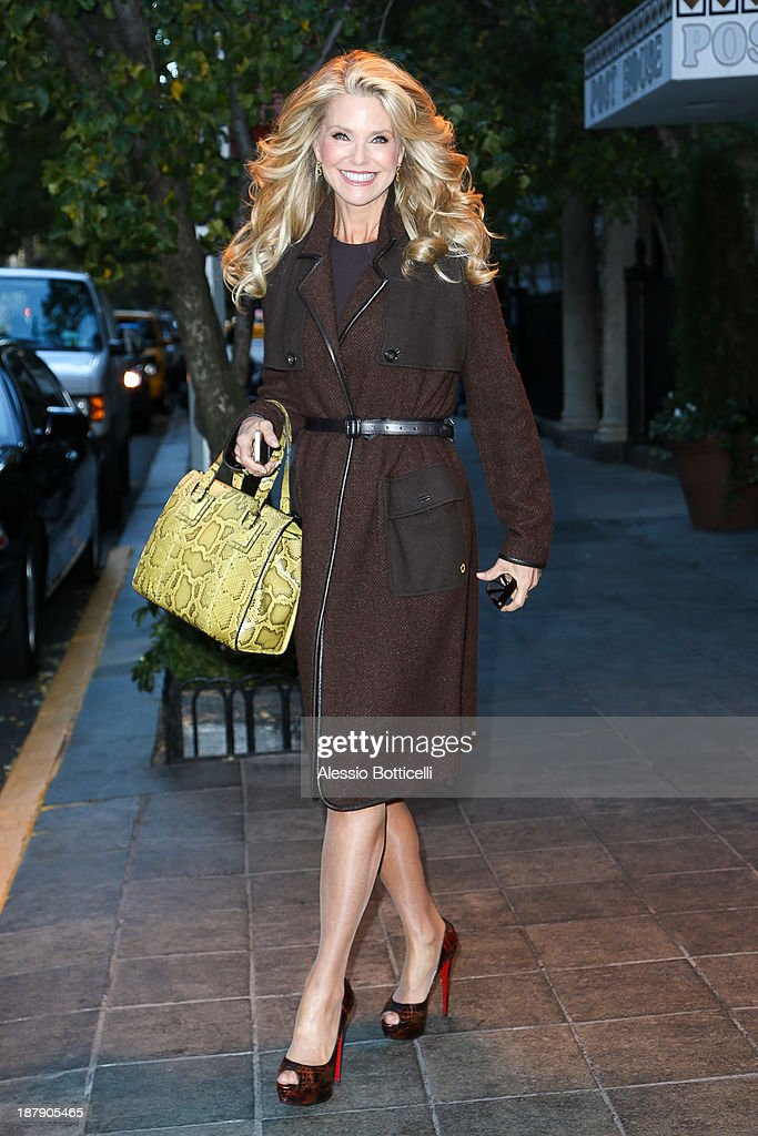 <a gi-track='captionPersonalityLinkClicked' href=/galleries/search?phrase=Christie+Brinkley&family=editorial&specificpeople=204151 ng-click='$event.stopPropagation()'>Christie Brinkley</a> seen leaving her hotel on November 13, 2013 in New York City.