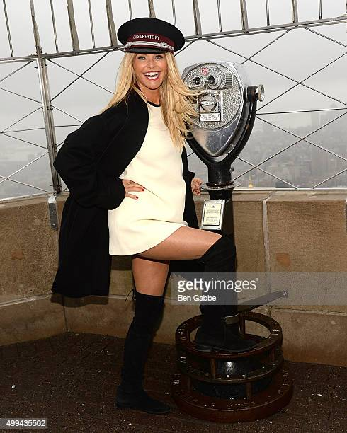 Christie Brinkley visits The Empire State Building to celebrate 'Give A Smile Get A Smile' Launch at The Empire State Building on December 1 2015 in...