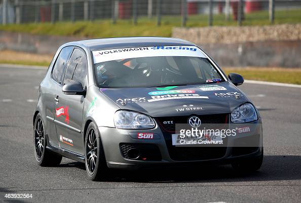 Christie Doran drives her VW Golf during the MotorSport Vision Racing 2015 Media Launch at Brands Hatch on February 18 2015 in Longfield England