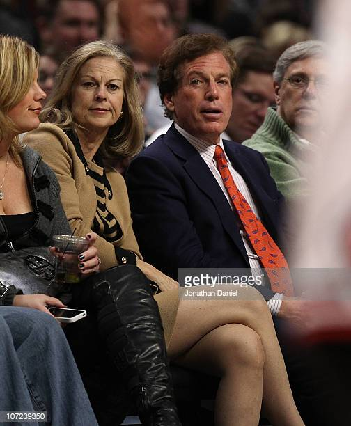 Christie Hefner and her husband Bill Marovitz take in a game between the Chicago Bulls and the Orlando Magic at the United Center on December 1 2010...
