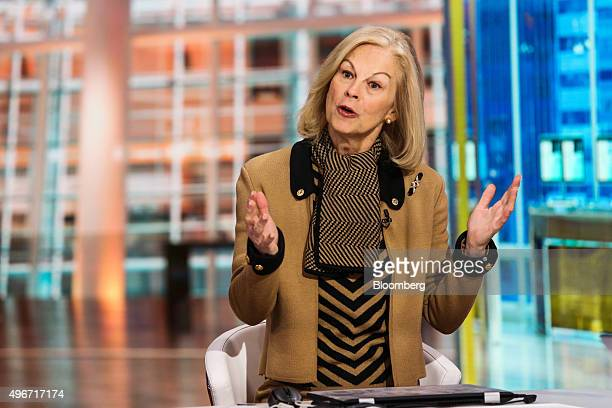 Christie Hefner chairman of Canyon Ranch Enterprises Inc and Hatch Beauty and former chief executive officer of Playboy Enterprises speaks during a...