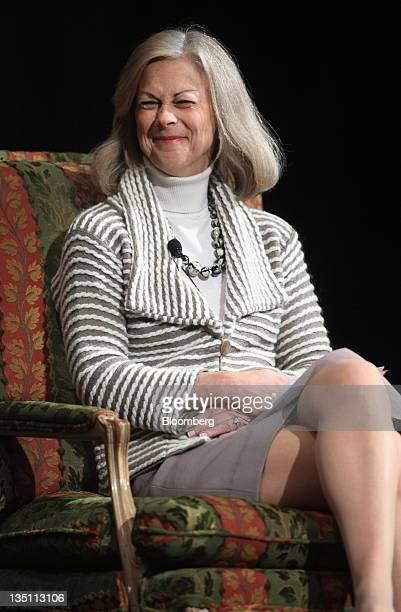 Christie Hefner chairman of Canyon Ranch Enterprises smiles during the Executives' Club of Chicago CEO Breakfast in Chicago Illinois US on Tuesday...