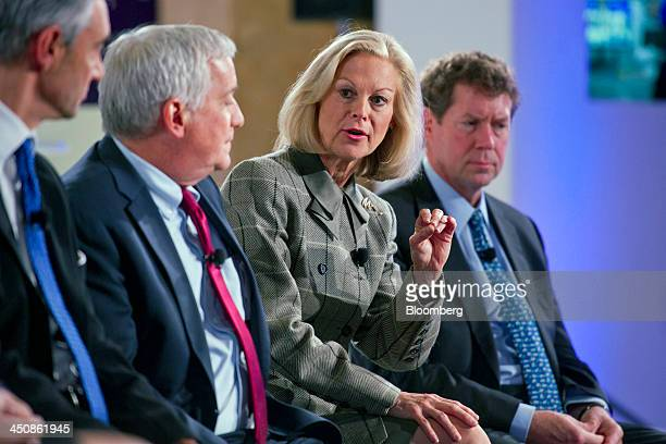 Christie Hefner former chairman and chief executive officer of Playboy Enterprises and chairman of Canyon Ranch Enterprises Inc second right speaks...