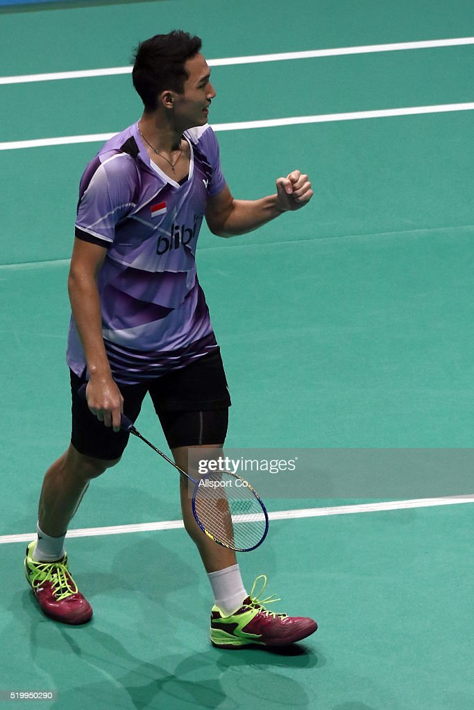 Christie Jonatan of Indonesia reacts after he won a point against <a gi-track='captionPersonalityLinkClicked' href=/galleries/search?phrase=Chen+Long+-+Badminton+Player&family=editorial&specificpeople=9613842 ng-click='$event.stopPropagation()'>Chen Long</a> of China during the Semi Finals of the Men Singles during the BWF World Super Series Badminton Malaysia Open at Stadium Malawati on April 9, 2016 in Shah Alam, Malaysia.