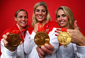 Christie Rampone Hope Solo and Heather Mitts of the United States pose in the NBC Today Show Studio as part of the Gold Medal winning Women's...