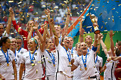 Christie Rampone of the United States of America holds the World Cup Trophy after their 52 win over Japan in the FIFA Women's World Cup Canada 2015...