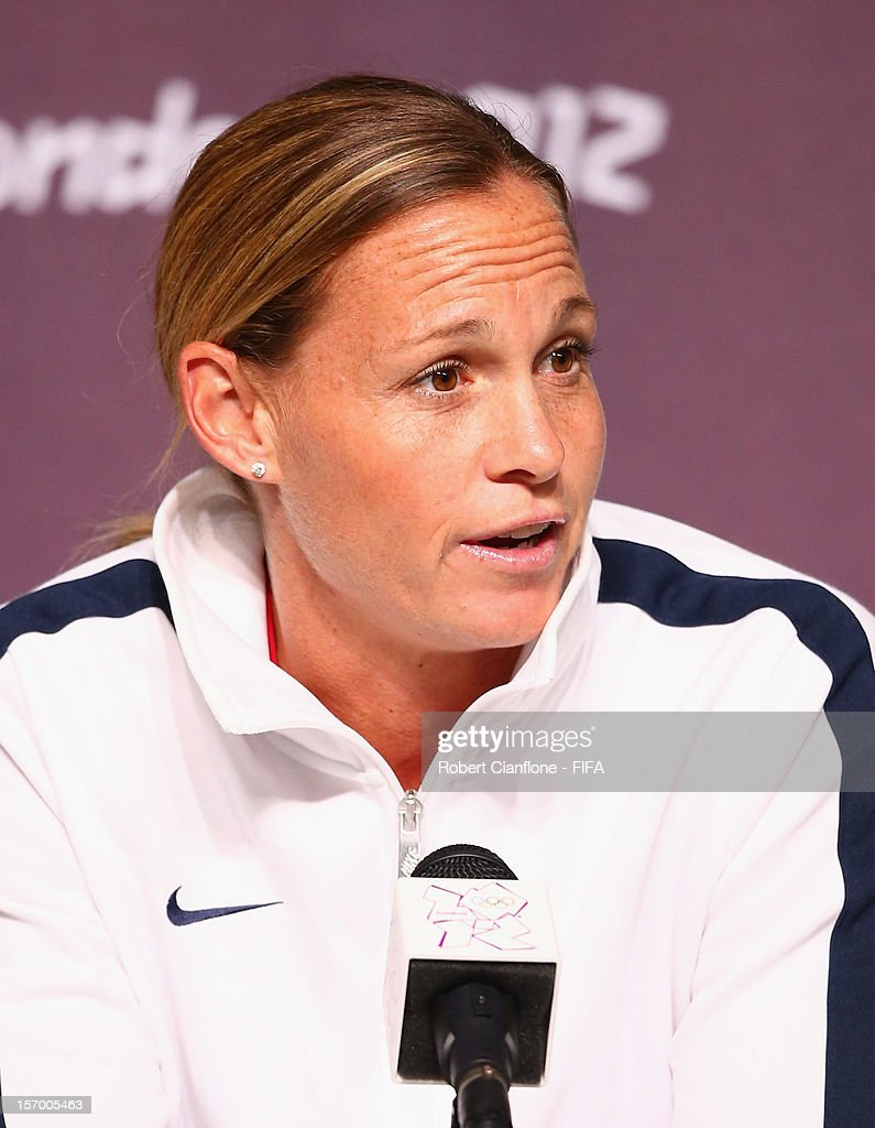 <a gi-track='captionPersonalityLinkClicked' href=/galleries/search?phrase=Christie+Rampone&family=editorial&specificpeople=737139 ng-click='$event.stopPropagation()'>Christie Rampone</a> of the USA is seen during the Women's Football Final press conference at the Main Press Centre as part of the London 2012 Olympic Games on August 8, 2012 in Newcastle upon Tyne, England.