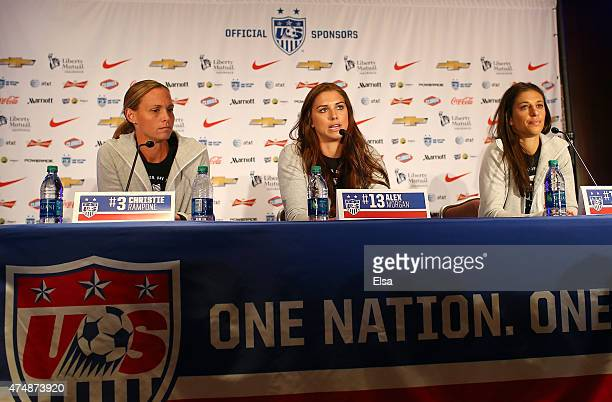 Christie RamponeAlex Morgan and Carli Lloyd answer questions during the United States Women's World Cup Media Day at Marriott Marquis Hotel on May 27...