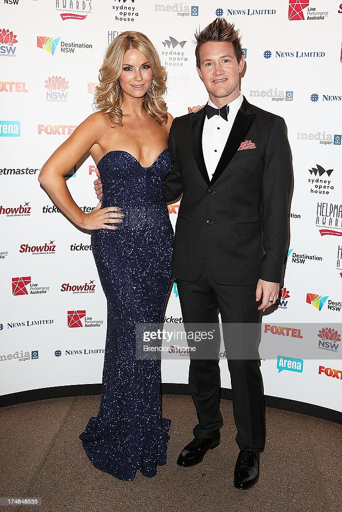Christie Whelan Browne and Eddie Perfect arrives at the 2013 Helpmann Awards at the Sydney Opera House on July 29, 2013 in Sydney, Australia.