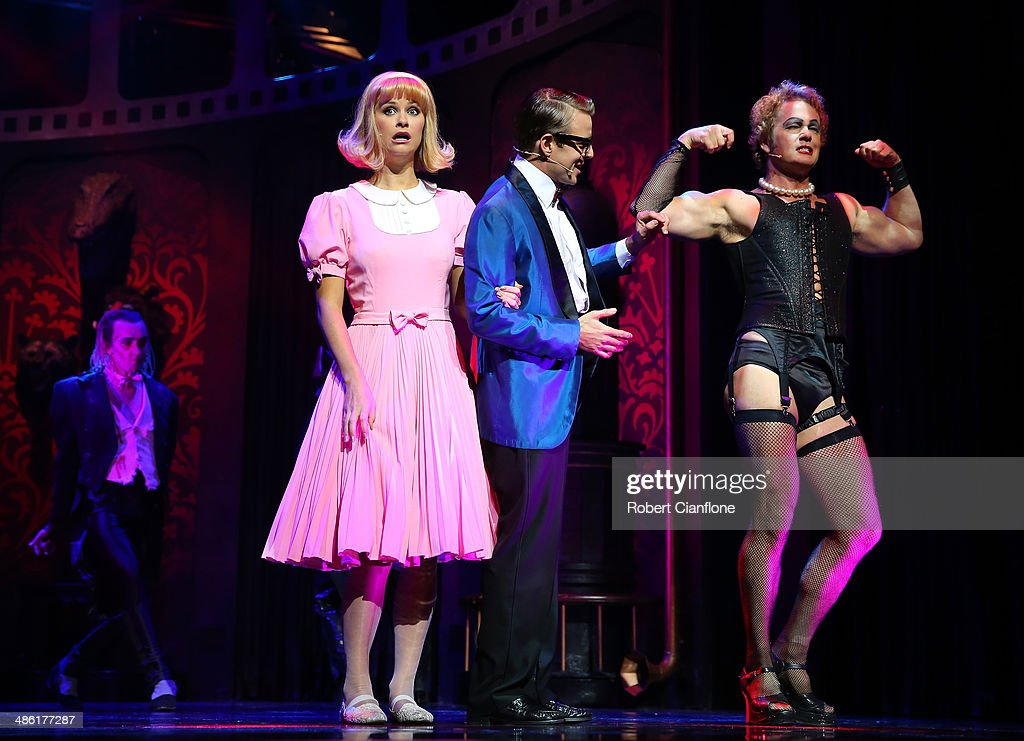 Christie Whelan Browne as Janet, Tim Maddren as Brad and <a gi-track='captionPersonalityLinkClicked' href=/galleries/search?phrase=Craig+McLachlan&family=editorial&specificpeople=2198317 ng-click='$event.stopPropagation()'>Craig McLachlan</a> as Frank N Furter perform during a media call for the Rocky Horror Show at the Comedy Theatre on April 23, 2014 in Melbourne, Australia.