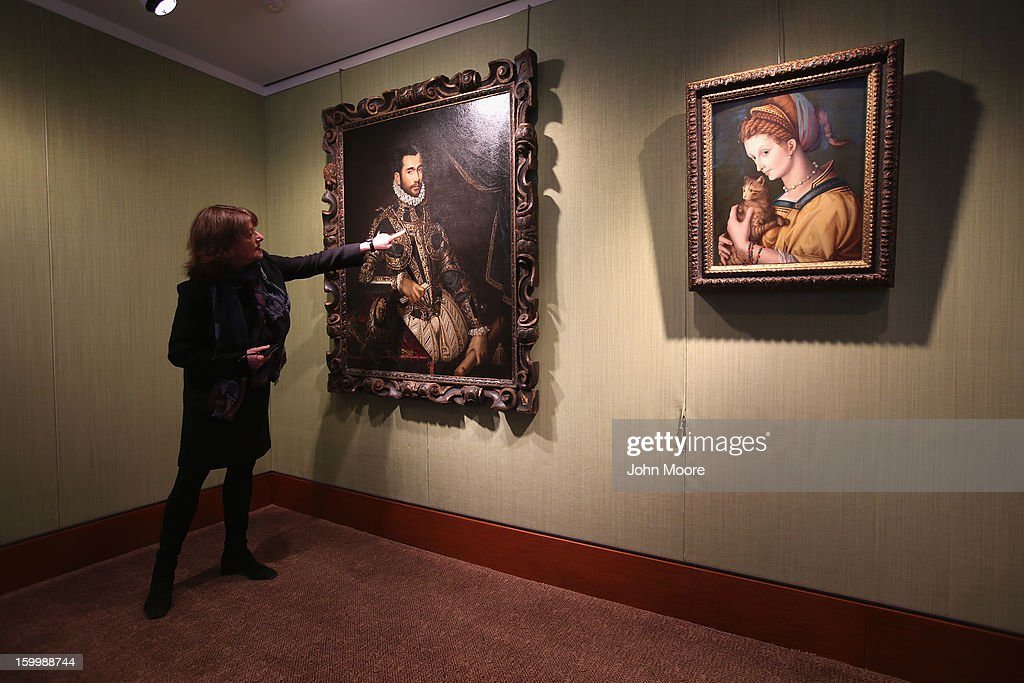 Christie's auction house head of 'Old Masters' Ann Guite shows off Resaissance painting 'Portrait of Jacopo Boncompagni' by Scipione Pulzoneon January 24, 2013 in New York City. The auction house previewed pieces from its upcoming Old Masters Week, to be held Jan. 26-31 in New York City, with the auction beginning January 29.