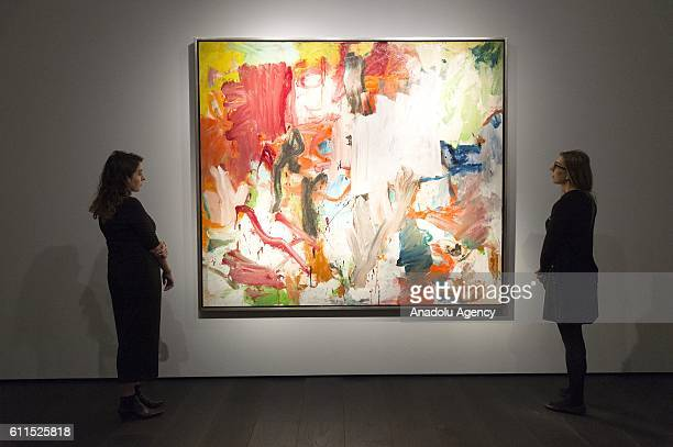 Christies staff views painting titled Untitled XXV by artist Willem de Kooning with an auction estimate of £308 million on September 30 2016 in...