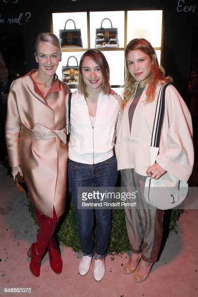 Christiina Zeller Emilie Dequenne and Hande Kodja attend Delvaux Cocktail as part of Paris Fashion Week Womenswear at Jardin du Palais Royal on March...