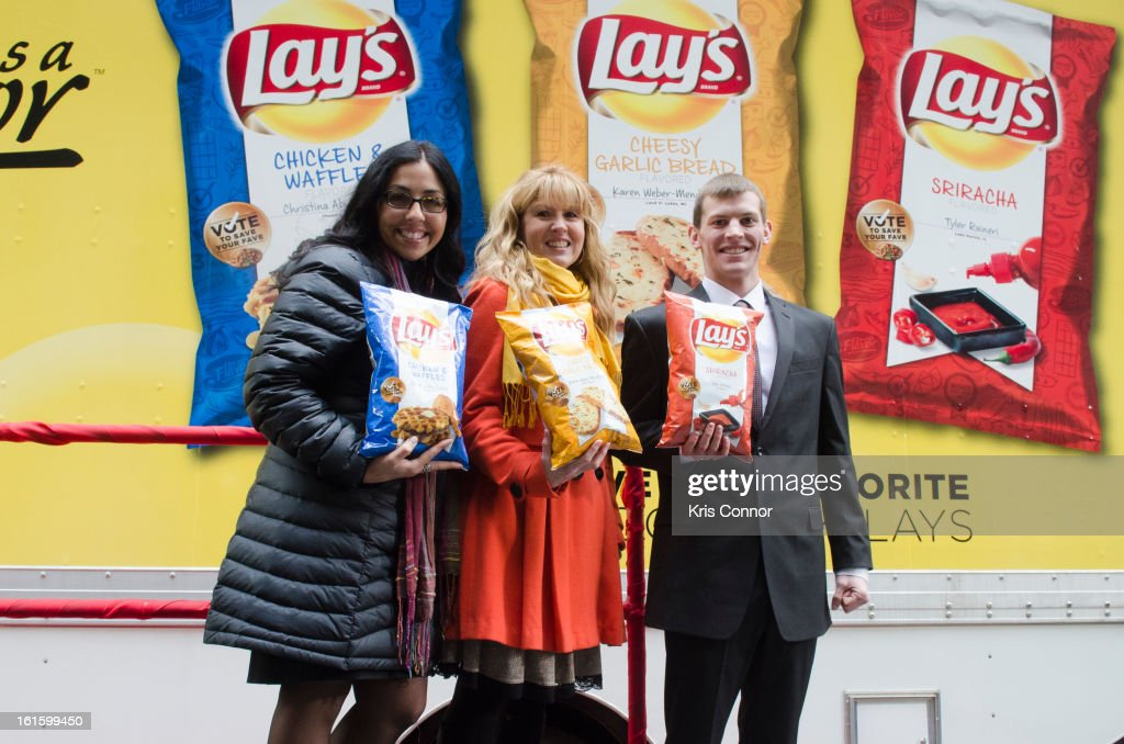 Christina Abu-Judom, Karen Weber-Mendham and Tyler Raineri pose for a photo during NYSE Celebrates Lay's 'Do Us a Flavor' Contest Finalists during the opening bell at New York Stock Exchange on February 12, 2013 in New York City.