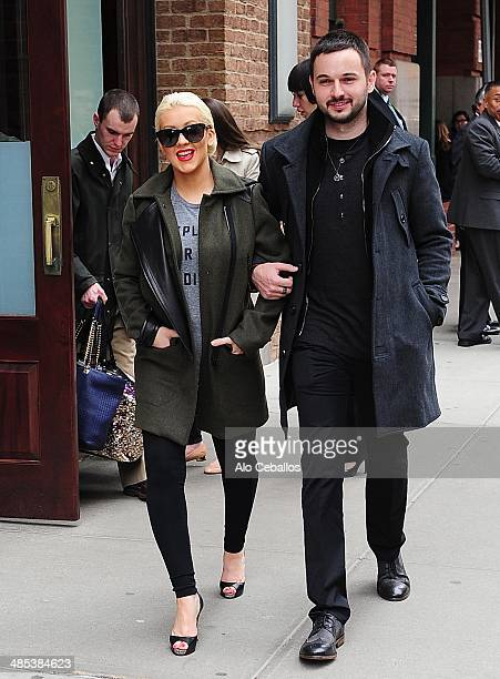 Christina Aguilera and Matt Rutler are seen in Tribeca on April 17 2014 in New York City