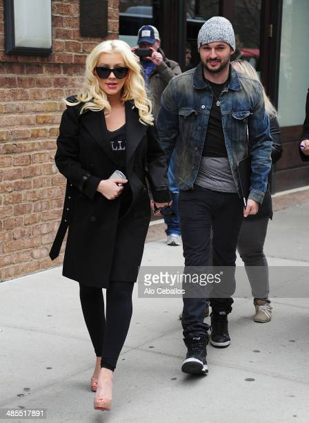 Christina Aguilera and Matt Rutler are seen in Tribeca on April 18 2014 in New York City